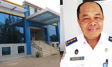 kolase gedung utama Balai Teknik Keselamatan Pelayaran (BTKP) dan Kepala BTKP, Binari Sinurat